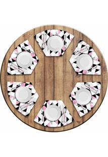 Jogo Americano - Love Decor Para Mesa Redonda Triã¢Ngulos Rosa Kit Com 6 Peã§As - Multicolorido - Dafiti
