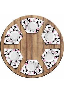 Jogo Americano Love Decor Para Mesa Redonda Wevans Triângulos Rosa Kit Com 6 Pçs
