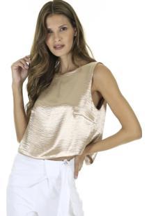 Blusa Cropped Lisa Com Detalhe Costas Preta - Dourado - Kanui