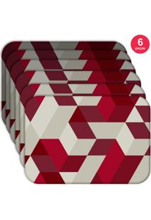 Jogo Americano Love Decor Wevans Red Geometric Kit Com 6 Pçs