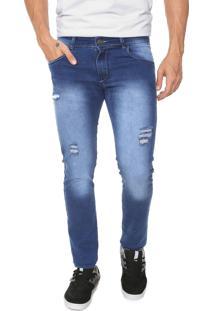 Calça Jeans Ride Skateboard Slim Destroyed Azul
