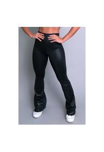 Calça Feminina Mvb Modas Flare Pantalona Cirrê Preta