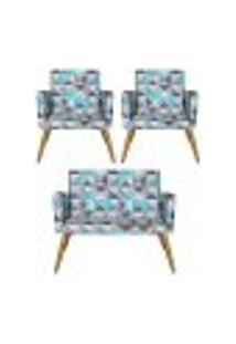 Conjunto Namoradeira Decorativa E 2 Poltronas Nina Triângulo Azul