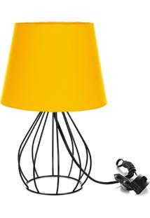 Abajur Cebola Dome Amarelo Com Aramado Preto - Amarelo - Dafiti