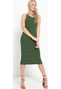 Vestido Listrado Com Torção- Preto & Verde- Colccicolcci