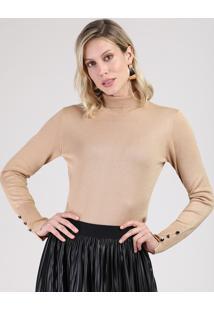 Suéter Feminino Básico Em Tricô Com Botões Gola Alta Bege
