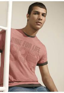 Camiseta Masculina Em Malha Flamê De Algodão Com Estampa De Técnica Especial