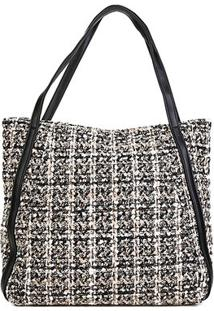 Bolsa Shoestock Maxi Shopping Tweed Feminina - Feminino-Preto+Bege
