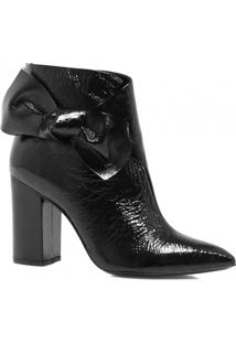 Bota Cano Curto Zariff Shoes Laço Zíper Feminina - Feminino-Preto