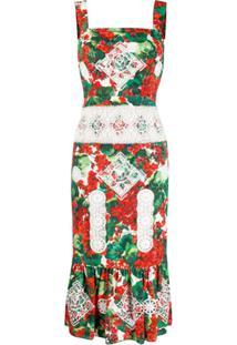Dolce & Gabbana Vestido Com Renda E Estampa De Hortência - Vermelho
