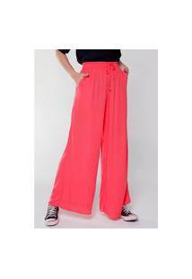Calça Pantalona Wide Leg Cintura Alta Sob Com Bolsos Coral