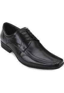Sapato Social Jota Pê Couro Cadarço Masculino - Masculino-Preto