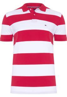 Polo Masculina Block Stripe - Vermelho