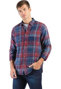 Camisa Flanelada Xadrez Azul Marinho