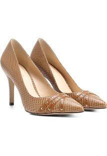 Scarpin Couro Shoestock Salto Alto Tachas - Feminino