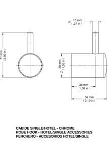 Cabide Docol Single/Hotel Cromado