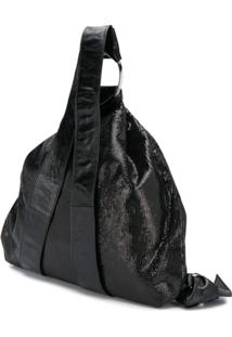 Patrizia Pepe Sequin Drawstring Backpack - Preto