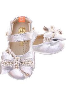 Sapato Boneca Mogly Laço Bordado - Feminino-Prata