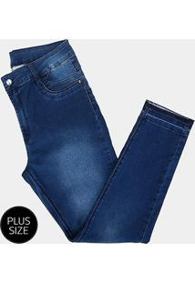 Calça Jeans Plus Size Sawary Skinny Barra Desfeita Feminina - Feminino