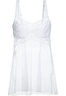 Camisola Curto Sem Manga Renda Vivienne Branco