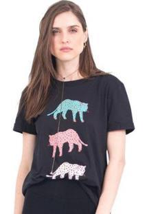 Camiseta 41Onze Tri Cheetah Feminina - Feminino-Preto