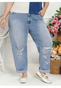 Calça Plus Size Jeans Claro Com Puídos