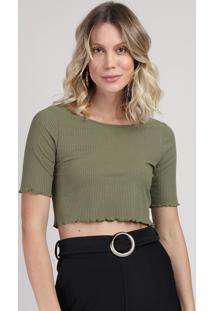 Blusa Feminina Cropped Manga Curta Decote Redondo Verde Militar