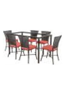 Jogo De Jantar 6 Cadeiras Turquia Tabaco A40 E 1 Mesa Retangular Sem Tampo Ideal Para Área Externa Coberta