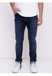 Calça Skinny Em Jeans Escuro