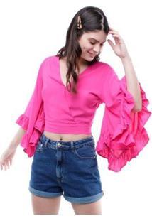 Blusa Cropped Mangas Flare 7/8 Pop Me Feminina - Feminino-Pink