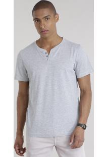 Camiseta Básica Com Botões Cinza Mescla Claro