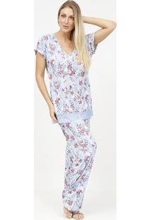 Pijama Floral Com Renda- Azul Claro & Roxo- Fruit Defruit De La Passion