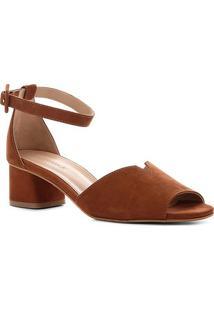 Sandália Couro Shoestock Salto Bloco Nobuck Feminina - Feminino-Caramelo