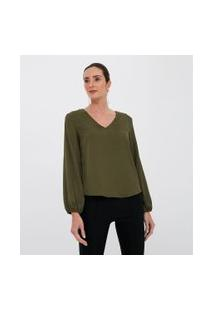 Blusa Animal Print Com Decote V | Cortelle | Verde | P