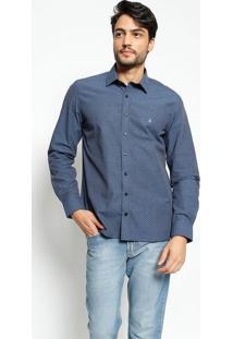 Camisa Slim Fit Com Bordado - Azul Escuro & Azul Clarovip Reserva