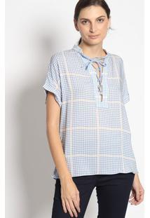 Blusa Geomã©Trica Com Amarraã§Ã£O- Azul Claro & Brancaenna