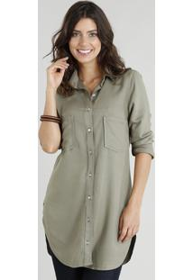338f829209 ... Camisa Alongada Feminina Com Bolsos Manga Longa Verde Militar