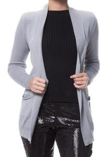 Cardigan Logan Tricot Modal Feminino - Feminino-Cinza