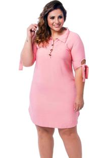 Vestido Chemise Plus Size Rosa
