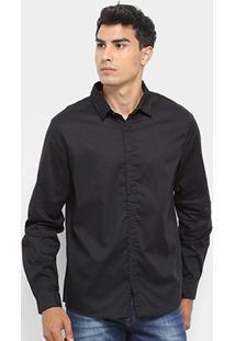 Camisa Acostomento Manga Longa Básica Masculina - Masculino-Preto