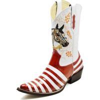 9ff0ca4ce Bota Country Top Franca Shoes Bico Fino Verniz Masculina - Masculino- Vermelho