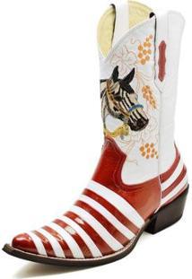 Bota Country Top Franca Shoes Bico Fino Verniz Masculina - Masculino-Vermelho