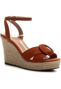Sandália Couro Shoestock Anabela Entrelaço Feminina - Feminino-Caramelo