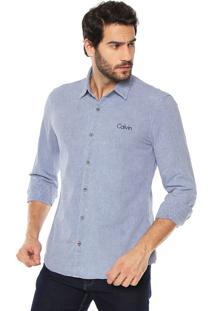 Camisa Calvin Klein Jeans Logo Azul