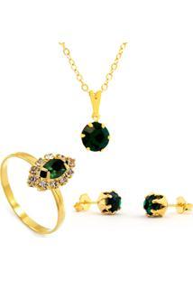 Kit Horus Import Gargantilha Pingente Verde Esmeralda - Brincos - Anel - Banhado Em Ouro 18K - Kit10534