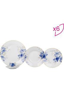 Aparelho De Jantar Fiore Blu Em Porcelana- Branco & Azulfull Fit