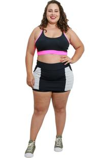 Shorts Saia Fitness Corpusfit Life Com Bolso Plus Size - Preto E Branco - Kanui