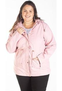 Jaqueta Parka Feminina Plus Size Capuz Bolso Zíper - Feminino-Rosa