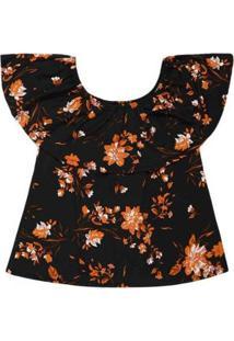Blusa Feminina Ciganinha Manga Curta Floral Plus Size - Feminino-Preto