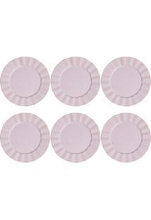 Jogo De Sousplat Bon Gourmet 6 Peças Plástico 33Cm Lilás